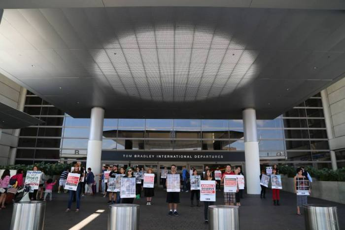 LCA protest against Air France at LAX